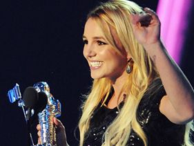 Britney Spears on stage while accepting the Best Pop Video award for 'Till The World Ends' at the 2011 MTV Video Music Awards.