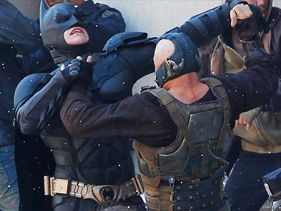 "Christian Bale and Tom Hardy film ""The Dark Knight Rises"""
