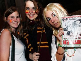 """Harry Potter and the Deathly Hallows"" fans at a midnight screening in New York City on Thursday"