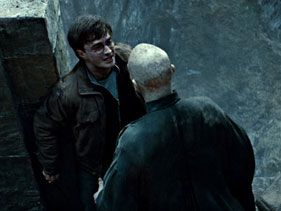 "Daniel Radcliffe as Harry Potter and Ralph Fiennes as Lord Voldemort in ""Harry Potter and the Deathly Hallows - Part 2"""