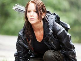 "Jennifer Lawrence as Katniss in ""The Hunger Games"""
