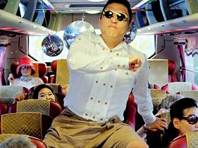 "Psy in his ""Gangnam Style"" music video"
