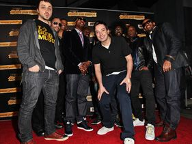 Jimmy Fallon with the Roots at their Pre-Grammy Jam Session in Hollywood on Saturday.