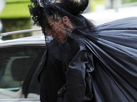 Daphne Guinness attends Alexander McQueen's funeral on February 25