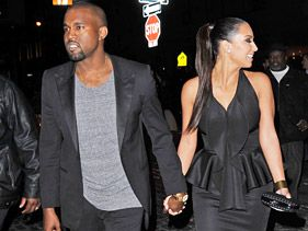 Kanye West and Kim Kardashian in New York on Monday
