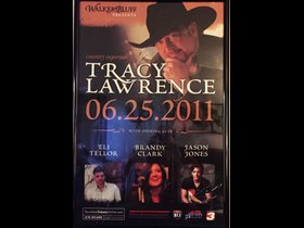Poster of when Eli Tellor opened for Tracy Lawrence at Walkers Bluff Winery - Carterville, IL