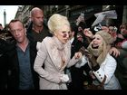 Gaga pauses to greet the excited fan