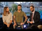 Maroon 5's James Valentine and Adam Levine and MTV News' James Montgomery