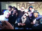 "Sway, French Montana, Fat Joe and some of the XXL Freshmen pose after ""RapFix Live"""